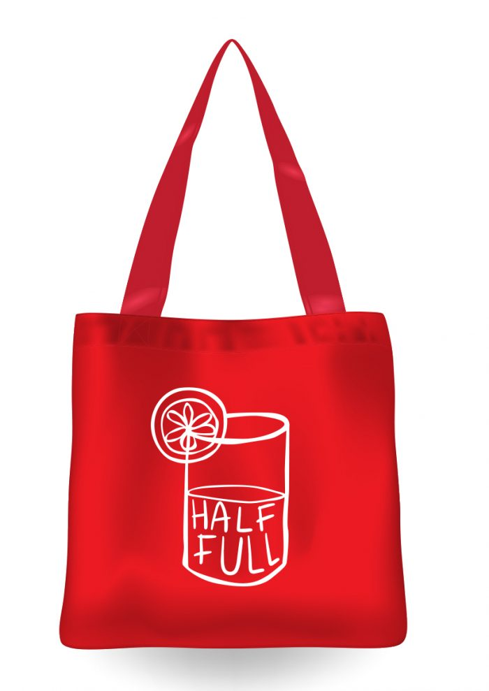 Red tote bag with half full wording