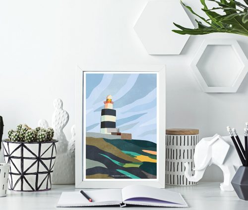 Illustration of hook lighthouse in frame