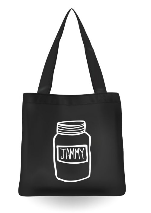 black tote bag with the word jammy printed
