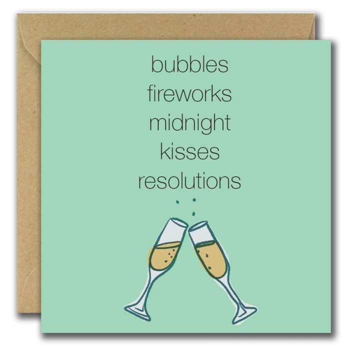 bubbles, fireworks, midnight, kisses, resolutions greeting card