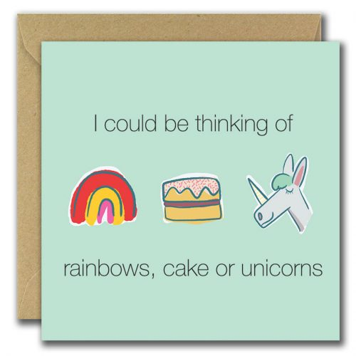 illustrated card rainbows cakes and unicorns