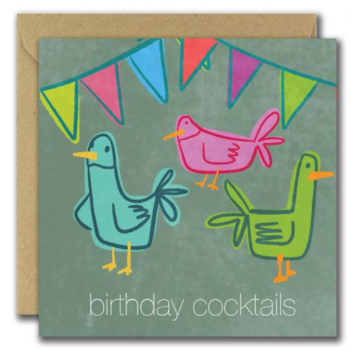 Illustrtation of colourful cockerells with the caption birthday cocktails greeting card