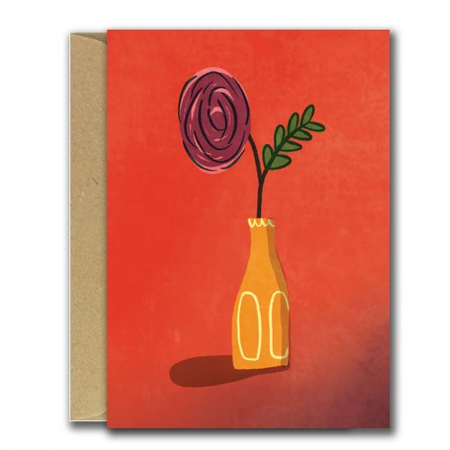 Bright red background with illustration of flowers in vase greeting card