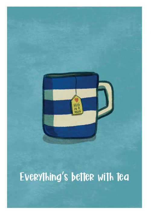 Everythings better with tea wall print illustration