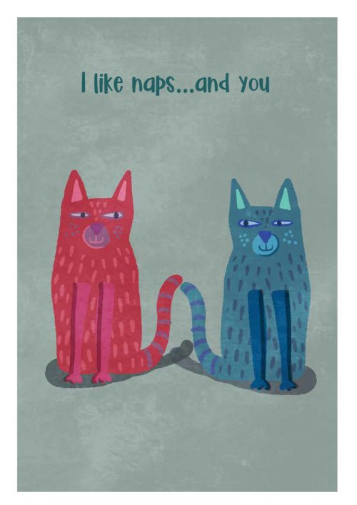 Two cats illustration, i like naps and you