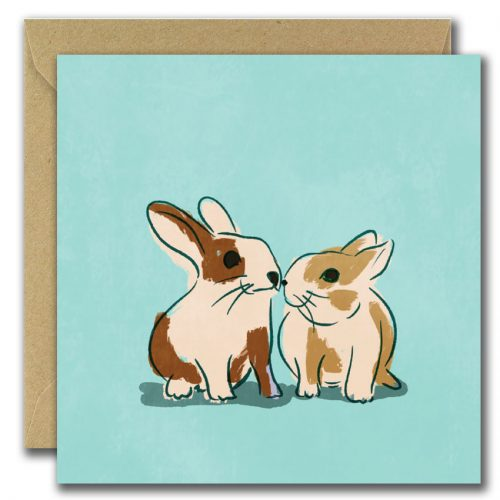 illustrated greeting card with aqua background and two rabbits
