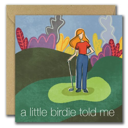 irish illustrated greeting card featuring female golfer in colourful background