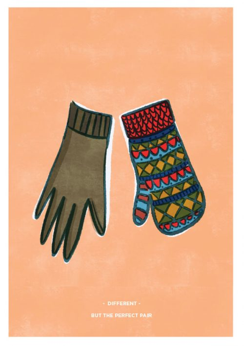 different but the perfect pair illustrated print with missmatching glove and mitten