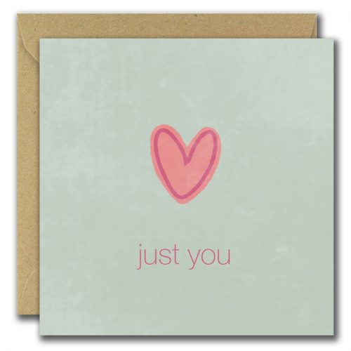 Illustrated irish greeting card pale blue background with a heart, text reads just you