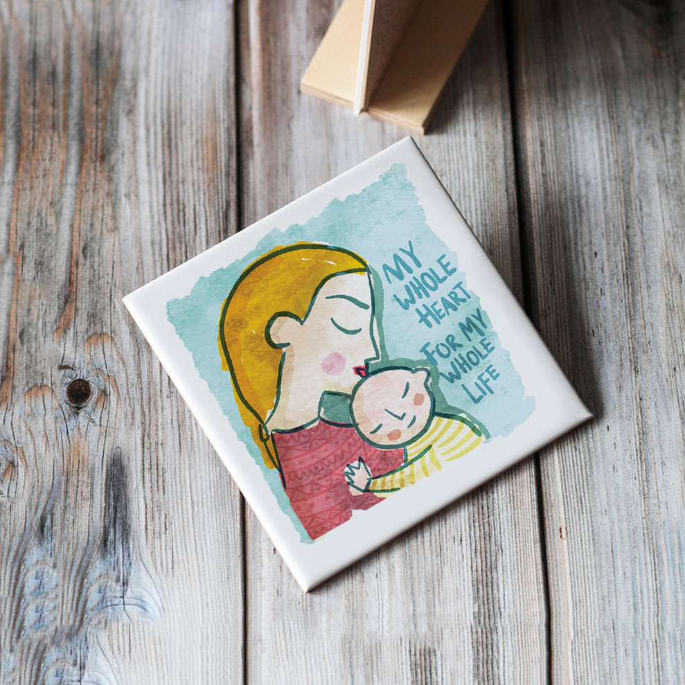 mother and child tile