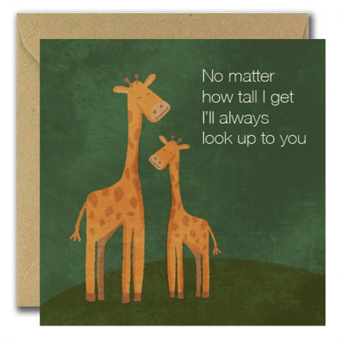 Two giraffes greeting card for fathers day